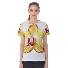 Yellow Phalaenopsis Flower, Floral Aquarel Watercolor Painting Art Women s Cotton Tee