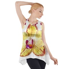Yellow Phalaenopsis Flower, Floral Aquarel Watercolor Painting Art Side Drop Tank Tunic