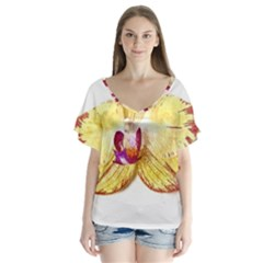 Yellow Phalaenopsis Flower, Floral Aquarel Watercolor Painting Art V Neck Flutter Sleeve Top