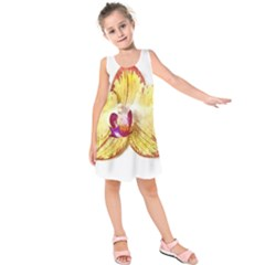 Yellow Phalaenopsis Flower, Floral Aquarel Watercolor Painting Art Kids  Sleeveless Dress