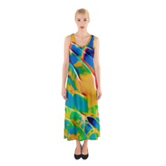 Abstract Acryl Art Sleeveless Maxi Dress