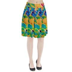 Abstract Acryl Art Pleated Skirt
