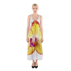 Phalaenopsis Yellow Flower, Floral Oil Painting Art Sleeveless Maxi Dress