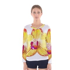 Phalaenopsis Yellow Flower, Floral Oil Painting Art Women s Long Sleeve Tee