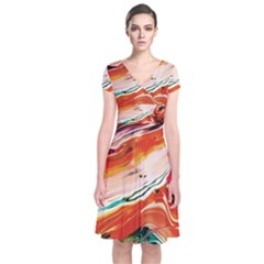 Abstract Acryl Art Short Sleeve Front Wrap Dress