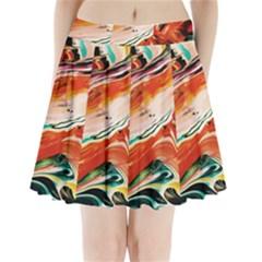 Abstract Acryl Art Pleated Mini Skirt