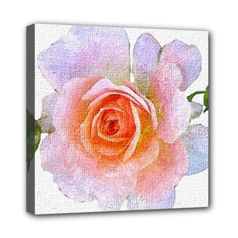 Pink Rose Flower, Floral Oil Painting Art Mini Canvas 8  X 8