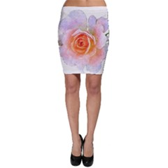 Pink Rose Flower, Floral Oil Painting Art Bodycon Skirt