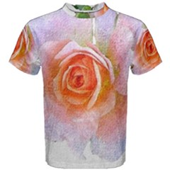 Pink Rose Flower, Floral Oil Painting Art Men s Cotton Tee