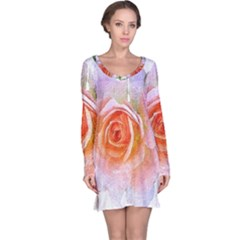 Pink Rose Flower, Floral Oil Painting Art Long Sleeve Nightdress