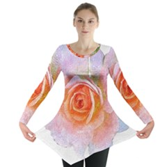 Pink Rose Flower, Floral Oil Painting Art Long Sleeve Tunic