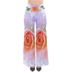 Pink Rose Flower, Floral Oil Painting Art Pants