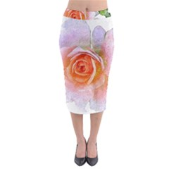Pink Rose Flower, Floral Oil Painting Art Midi Pencil Skirt