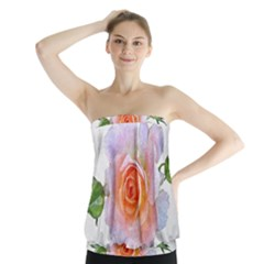 Pink Rose Flower, Floral Oil Painting Art Strapless Top