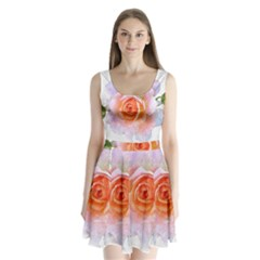 Pink Rose Flower, Floral Oil Painting Art Split Back Mini Dress