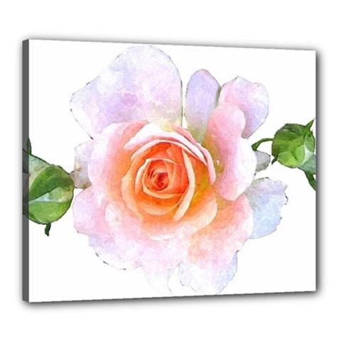 Pink Rose Flower, Floral Watercolor Aquarel Painting Art Canvas 24  X 20