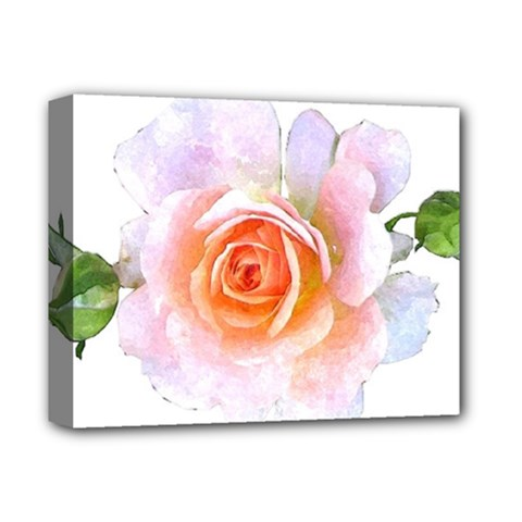 Pink Rose Flower, Floral Watercolor Aquarel Painting Art Deluxe Canvas 14  X 11