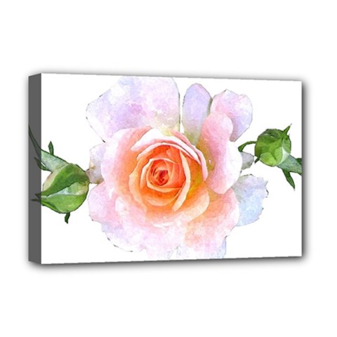Pink Rose Flower, Floral Watercolor Aquarel Painting Art Deluxe Canvas 18  X 12