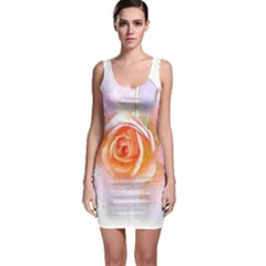 Pink Rose Flower, Floral Watercolor Aquarel Painting Art Bodycon Dress