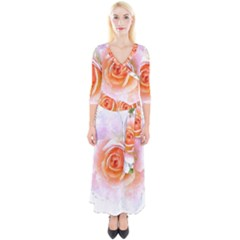Pink Rose Flower, Floral Watercolor Aquarel Painting Art Quarter Sleeve Wrap Maxi Dress