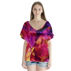 Abstract Acryl Art V Neck Flutter Sleeve Top