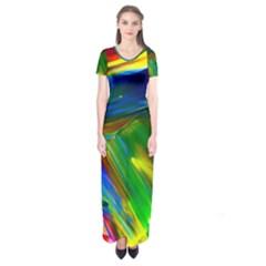 Abstract Acryl Art Short Sleeve Maxi Dress