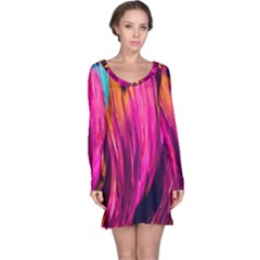 Abstract Acryl Art Long Sleeve Nightdress