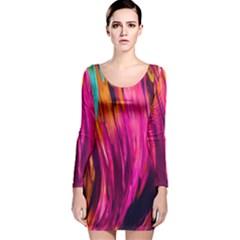 Abstract Acryl Art Long Sleeve Velvet Bodycon Dress