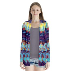 Abstract Acryl Art Drape Collar Cardigan