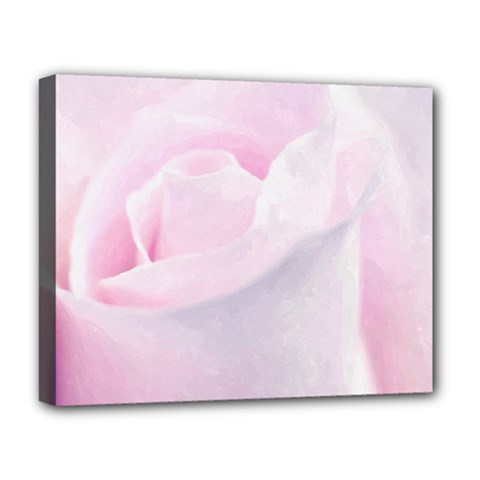 Rose Pink Flower, Floral Aquarel   Watercolor Painting Art Deluxe Canvas 20  X 16