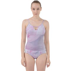 Rose Pink Flower, Floral Aquarel   Watercolor Painting Art Cut Out Top Tankini Set
