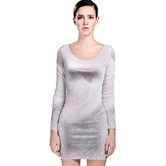 Rose Pink Flower  Floral Pencil Drawing Art Long Sleeve Bodycon Dress