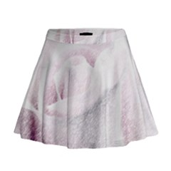 Rose Pink Flower  Floral Pencil Drawing Art Mini Flare Skirt