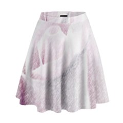 Rose Pink Flower  Floral Pencil Drawing Art High Waist Skirt