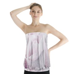 Rose Pink Flower  Floral Pencil Drawing Art Strapless Top