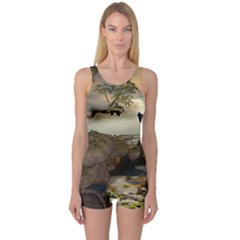 The Lonely Wolf On The Flying Rock One Piece Boyleg Swimsuit