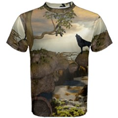 The Lonely Wolf On The Flying Rock Men s Cotton Tee