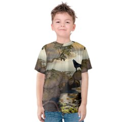 The Lonely Wolf On The Flying Rock Kids  Cotton Tee