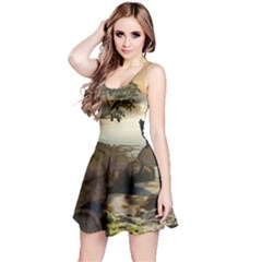 The Lonely Wolf On The Flying Rock Reversible Sleeveless Dress