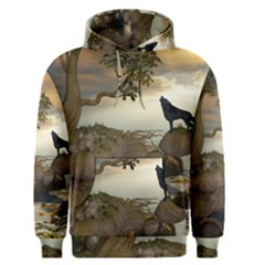 The Lonely Wolf On The Flying Rock Men s Pullover Hoodie