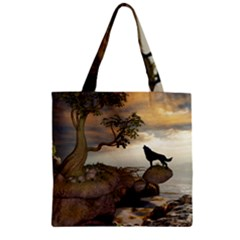 The Lonely Wolf On The Flying Rock Zipper Grocery Tote Bag