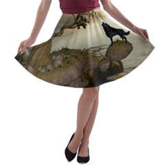 The Lonely Wolf On The Flying Rock A Line Skater Skirt