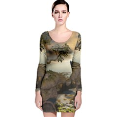 The Lonely Wolf On The Flying Rock Long Sleeve Velvet Bodycon Dress