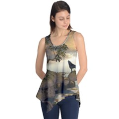 The Lonely Wolf On The Flying Rock Sleeveless Tunic