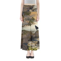 The Lonely Wolf On The Flying Rock Full Length Maxi Skirt