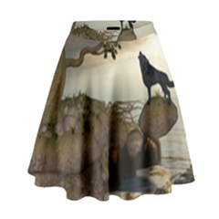 The Lonely Wolf On The Flying Rock High Waist Skirt