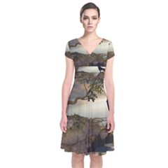 The Lonely Wolf On The Flying Rock Short Sleeve Front Wrap Dress