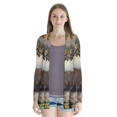 The Lonely Wolf On The Flying Rock Drape Collar Cardigan