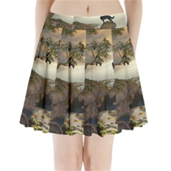 The Lonely Wolf On The Flying Rock Pleated Mini Skirt