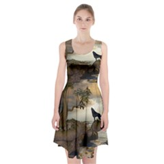 The Lonely Wolf On The Flying Rock Racerback Midi Dress
